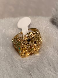 24k GPL Men's Nugget Ring Size 8,9,10