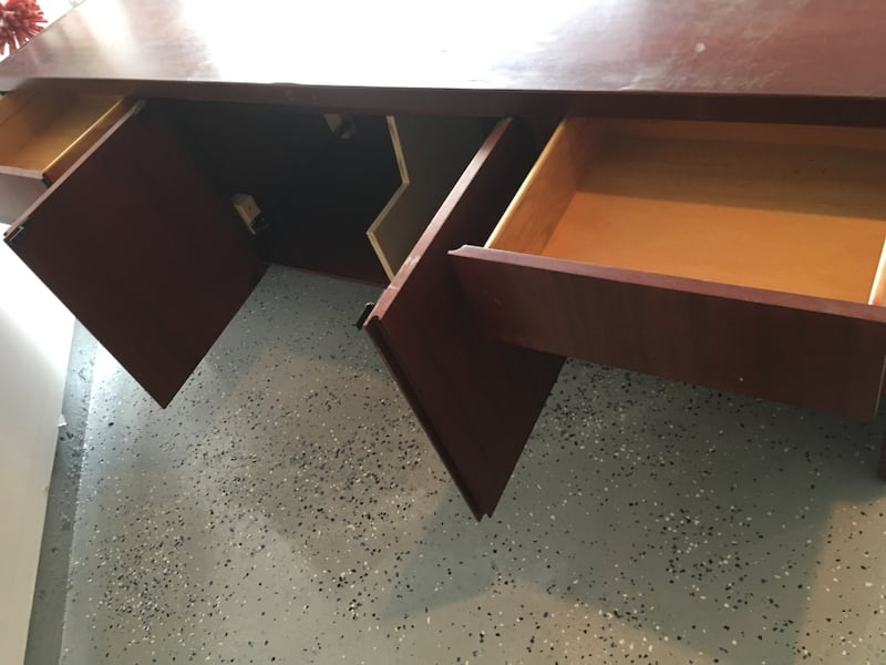 Office Desk with 4 drawers and 2 doors with shelves 1