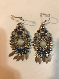Gold and blue earrings