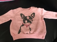 pink and black French Bulldog printed sweater