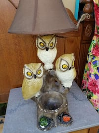 three ceramic owl table lamp with brown lampshade 732 mi