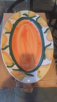 Oblong Golden yellow and green ceramic plate new