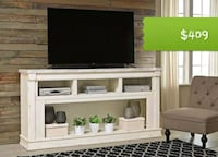 Becklyn Chipped White XL TV Stand | W642-68   Houston, 77036