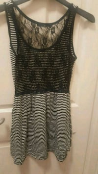 women's black and gray striped sleeveless dress Reading