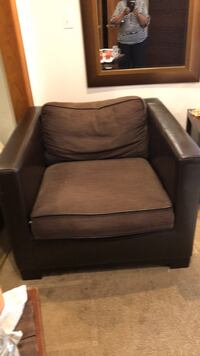 black leather sofa chair with ottoman Bowie, 20720