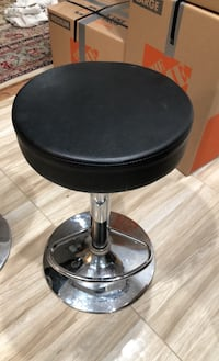 (4) Leather bar stools, Black and Silver