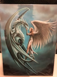 ANNE STOKES SILVER BLACK WALL ANGEL WALL CANVAS Halifax