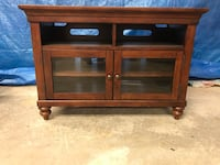 brown wooden TV stand with cabinet Mount Joy, 17552