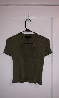 Button up olive green ribbed shirt