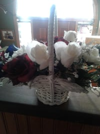white and red flower arrangement with white basket Innisfil, L9S 1C5