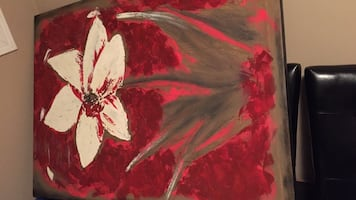 HUGE PAINTING White and red flower painting