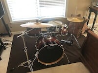 DW mini 18 with throne hi hat stand ride cymbal stand hi hat cymbals ride cymbal and kick pedal gig bags and cymbal bag and DW kick pedal bag Round Hill, 20141