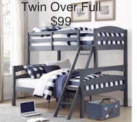 gray wooden bunk bed frame