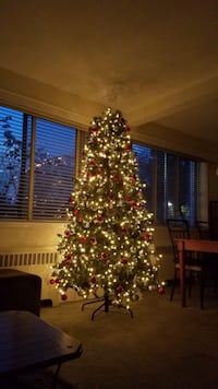 Pre lit Christmas tree and decorations