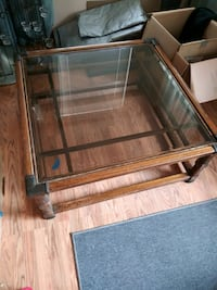 brown wooden framed glass top coffee table Pismo Beach, 93449