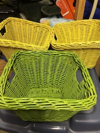 three yellow and green wicker baskets London, N5V 3M1