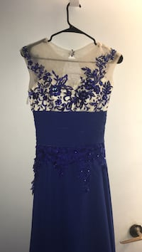 Royal blue dress with hand beading ! Size 6