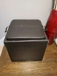 Brown leather cube ottoman with storage Fairfax, 22030