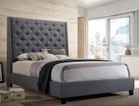 Chantilly Gray Upholstered Queen Bed | 5265 Houston, 77019