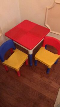 two red and blue wooden tables 842 mi
