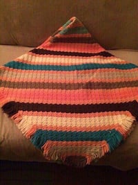 Beautiful stripped super soft and heavy hand crocheted throw afghan w fringes - new condition! Hazleton
