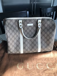 monogrammed brown and gray Coach leather tote bag Vancouver, V5M