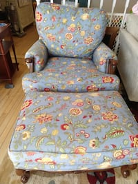 Comfy Blue arm chair and ottoman ALEXANDRIA
