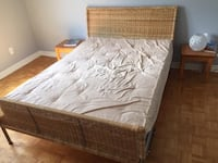 brown wooden bed frame with white mattress Markham, L3T 1B3