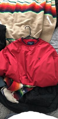 Large red polo golf wind breaker