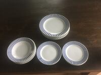 white-and-blue ceramic dinnerware set Perth South