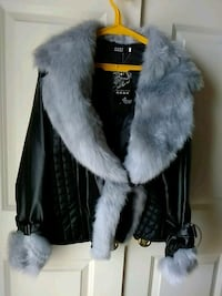 Faux fur and leather jacket size XXL