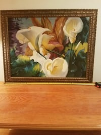 white calla lily flower painting with brown frame 705 mi