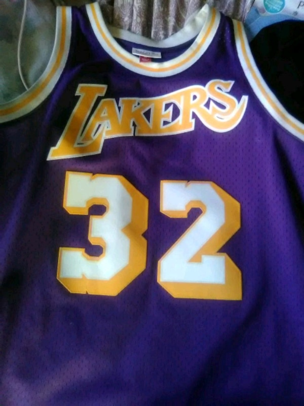 Used Purple and Gold lakers 32 jersey Magic Johnson for sale