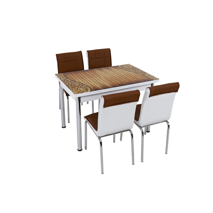 NEW 5 PCS KITCHEN TABLE SET BROWN CAN BE EXTENDED