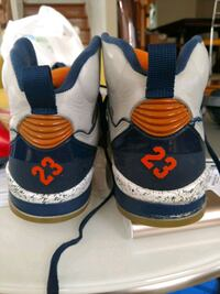 pair of white-and-blue Air Jordan shoes Sterling