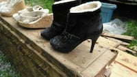 pair of black suede chunky heeled booties Willow Beach, L0E 1S0