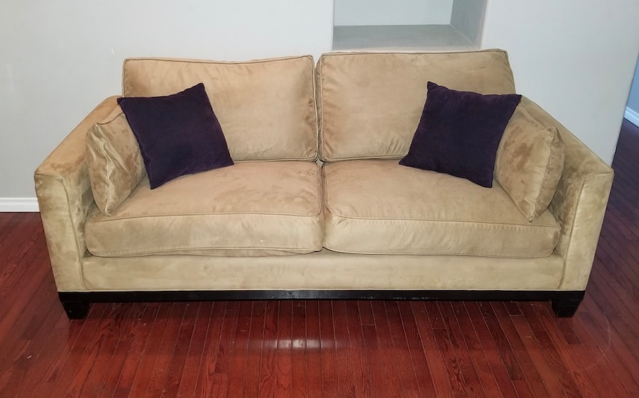 used tan microsuede wide 2 seat track arm couch w 2 arm 2 throw rh us letgo com