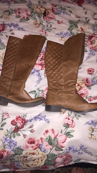 brown leather side-zip wide-calf boots Clarksville, 37043