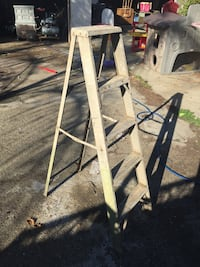 two gray metal A-frame ladders Pomona, 91768