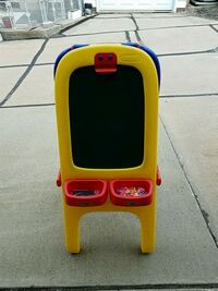 yellow, blue and red kids easel