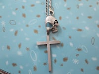 Pewter Skull and Holy Cross Necklace