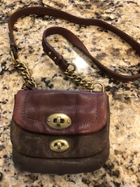 Fossil crossbody purse. Genuine leather. Green and brown leather. Rockledge, 32955