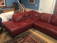 Italian Leather Sectional Red Couch BELTSVILLE