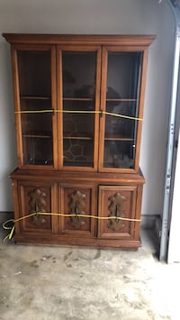 brown wooden framed glass display cabinet King George, 22448