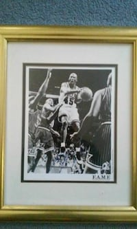 gray scale photo of Micheal Jordan with brass framed