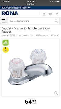 Manor Chrome Two-Handle Low Arc Bathroom Faucet Grimsby, L3M 5N1