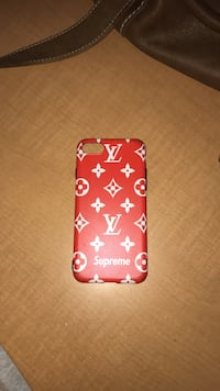 red and white Supreme X Louis Vuitton iPhone case