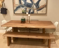Crate and Barrel Dakota bench and dining table