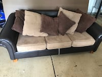 Pull out queen size sofa bed, brown and tan accent pillows Waxhaw, 28173