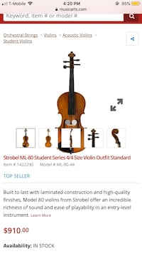 4/4 violin from music and arts store.